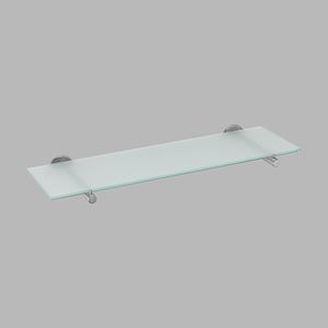 Glass shelf polished steel