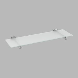 Glass shelf brushed steel